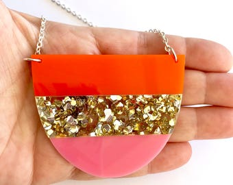 Yoo Split Necklace - Original Design by Each To Own - Laser Cut Acrylic Necklace - Pink, Orange, Gold Glitter