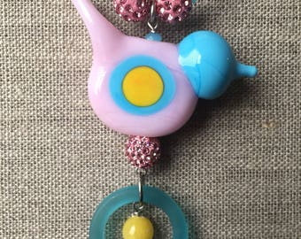 Pink and blue birdy necklace