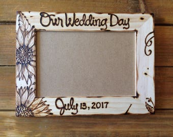 Sunflower wedding frame • wood • save the date • engaged • bridal shower gift • fall wedding • personalized • rustic • farmhouse • cottage