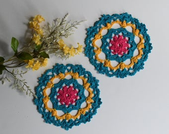 "Small Crochet Doily Pair - Aqua Hot Pink and Yellow - Lacy Small Mini 6"" - Set of 2"
