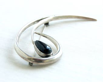 Vintage Mexican Brooch Large Sterling Silver Onyx Pin Swirl Taxco Mexico Abstract Paisley Jewelry