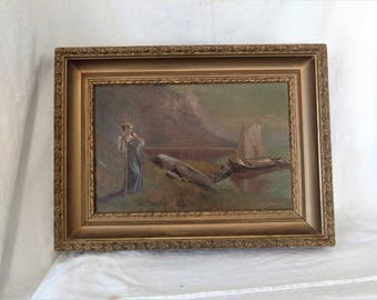 antique 1850's Oil Painting  French pastoral scene AM Watrous