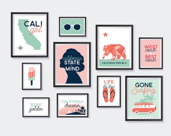 California Printable, Nursery Printables, Gallery Wall, decor, Cali Girl, pink, mint, surfing, beach, vacation, tropical, INSTANT DOWNLOAD