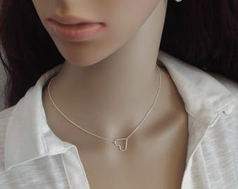 Sterling Silver Floating Heart Necklace- Open Heart Necklace- Layering Necklace- 925 Necklace- Silver Necklace