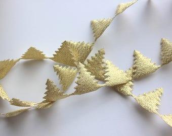 "Gold Satin Tree Cutouts - 1"" Tree Garland"