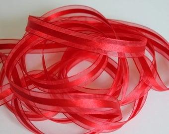 "5/8"" Satin Center Organza Ribbon - Red - 25 yard Spool"
