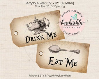 Drink me tags etsy alice in wonderland tags eat me tag drink me tag tea party tag pronofoot35fo Images