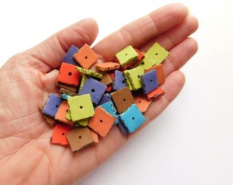 Square polymer clay beads, spacer beads with hand carved edges, set of 54