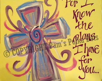 Handmade Original Painting SWIRLY HEART SCRIPTURE Jeremiah 29:11 Wall Art 12x12 Acrylic *Frame Ready* Autographed
