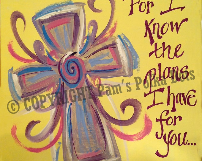 Handmade Original Painting SWIRLY HEART SCRIPTURE Jeremiah 29:11 Wall Art 12x12 Acrylic *Frame Ready* Autographed
