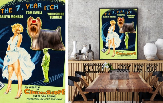 Yorkshire Terrier Marilyn Monroe Art Dog Gift Vintage Movie Poster The Seven Year Itch Custom Dog Portrait from photo Home wall art decor