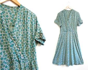 Vintage 1950s Dress   Green Circle Print Rhinestone Embellished 1950s Party Dress   size large - xl