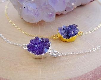 Crystal Druzy Purple Amethyst Necklace, Raw drusy rough pendant necklace, layering piece, February Birthstone, Bridesmaid Gift, Otis b