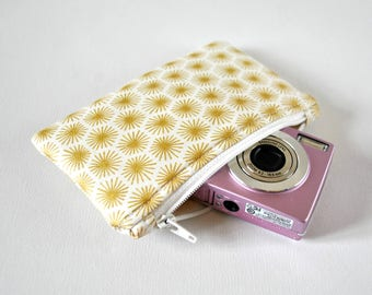 Star metallic gold starburst 50s inspired gadget holder padded camera mini cosmetics make up pouch in white and gold.