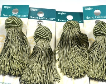 """Wrights Tassels, Turks Head Tassels, Rayon and Cotton, Home Decor Collection, Vintage Tassel, 4"""" Length, Set of 4"""