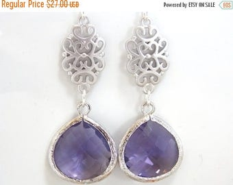 SALE Purple Earrings, Glass Earrings, Tanzanite, Silver Earrings, Amethyst, Wedding Jewelry, Bridal, Bridesmaid Earrings, Bridesmaid Gifts