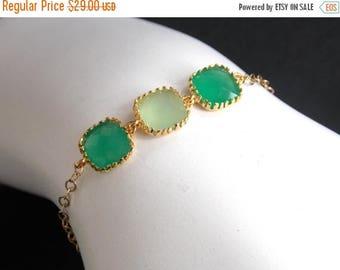 SALE Green Bracelet, Mint Bracelet, Glass Bracelet, Gold Bracelet, Gold Filled Bracelet, Wedding Jewelry, Bridesmaids Bracelet, Bridesmaid G