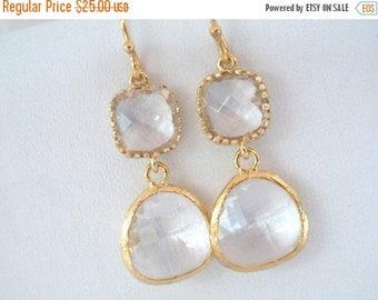 SALE Glass Earrings, Crystal Earrings, Clear Earrings, White Earrings, Gold Earrings, Wedding, Bridesmaid Earrings, Bridal Earrings, Bride
