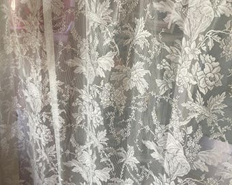 a set wide lace curtains off white shabby victorian roses