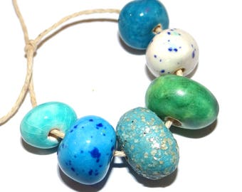 Ceramic Nugget Bead Set Stoneware Handmade Pottery Beads Pebbles Blue Turquoise Teal