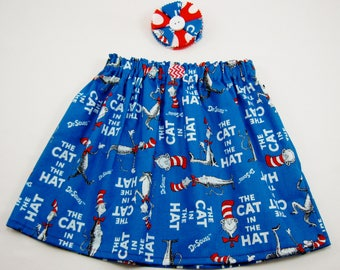 Cat in the Hat Baby Infant Toddler Girl's or Ladies Skirt or Dress - Dr Seuss Skirt - Birthday Dress - Cat in the Hat Birthday Party