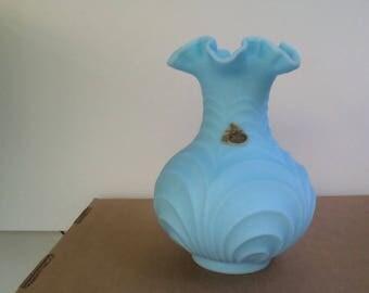 Vintage Fenton Glass Vase with original tag Blue Satin finish