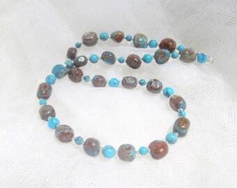 jasper necklace, stone necklace, beaded necklace, blue brown necklace, 17 in necklace, earth tone necklace, short necklace, casual necklace
