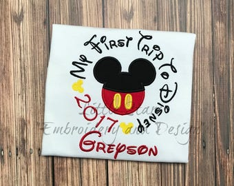 First Trip to Disney with Mickey or Minnie - Embroidered and Personalized Shirt - Colored Shirts Are Extra