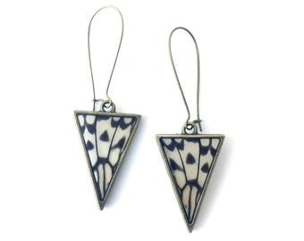 Real Butterfly Wing Triangle Earrings - Bronze Dangle Jewelry, Natural, Colorful, Insect, Butterfly Wings