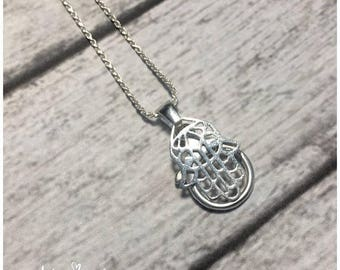SUMMER SALE AloraLocks Wide Hamsa Hand of Fatima Wedding / Engagement Ring or Charm Holder Pendant - Sterling Silver