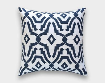 Navy Blue Chevelle Decorative Pillow Cover. 16x16. Geometric Lattice. Choose from 10 Sizes. Premier Navy Cushion Cover.