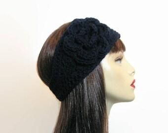 Crochet Headband with Flower  Crochet Earwarmer Navy Blue Head Band Dark Blue Earwarmer Blue Ear warmer Blue Headwrap  blue knit headband
