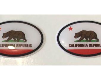 California Domed Gel Stickers (2x) for Laptop Tablet Book Fridge Guitar Motorcycle Helmet ToolBox Door PC Smartphone