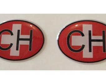 "Switzerland CH Domed Gel (2x) Stickers 0.8"" x 1.2"" for Laptop Tablet Book Fridge Guitar Motorcycle Helmet ToolBox Door PC Smartphone"