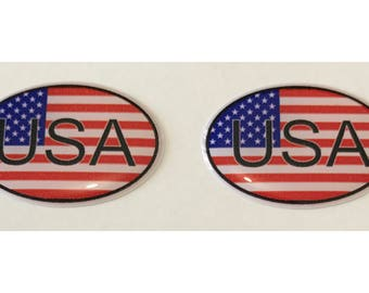 "United States USA Domed Gel (2x) Stickers 0.8"" x 1.2"" for Laptop Tablet Book Fridge Guitar Motorcycle Helmet ToolBox Door PC Smartphone"