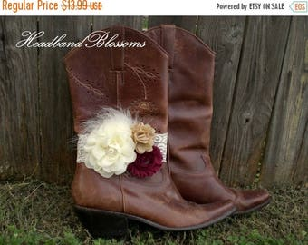 SALE MAROON Bridal Boot Bracelet - Boot Band - Boot Accessory - Wedding Boot Cuff - Boot Flower - Rustic Wedding - Boot Jewelry - Country We