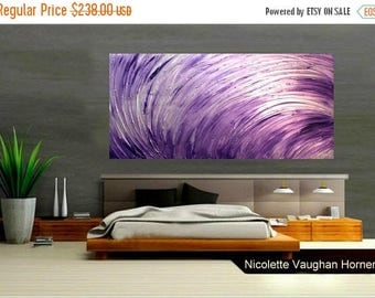 """SALE XLarge Contemporary Modern Metallic """"Purple Odyssey"""" Abstract Original 48"""" palette knife impasto oil painting by Nicolette Vaughan Horn"""