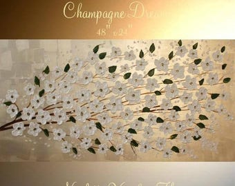 """SALE XLarge Champagne Pearl Oil Landscape Abstract Original 48"""" palette knife oil  impasto oil painting by Nicolette Vaughan Horner"""