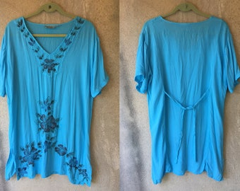 Teal Turquoise Soft Floral Hippie Festival Loose Indian Boho Sun Summer Dress