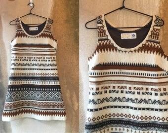 70's Hans Heitsch Icelandic Knit Wool Ikat Aztec Cream Brown Print Sleeveless Dress