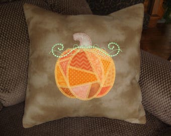 Thanksgiving Pumpkin Patchwork Throw Pillow Cover 16 by 16 Size  Fall Pumpkin Throw Pillow Grannies Embroidery