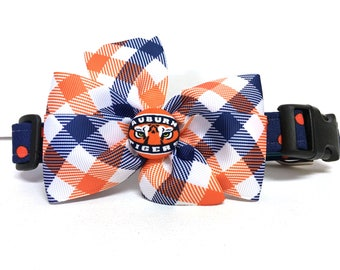 Dog Collar- The Navy and Orange- Adjustable Collar- Removable Bow