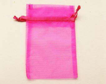 Set of 10 Hot Pink (5x7) Organza Bags