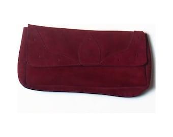 Vintage 80s Stead & Simpson Art Deco Maroon Red Faux Suede Clutch Bag