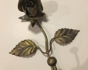 Vintage Metal Rose Hook Brass