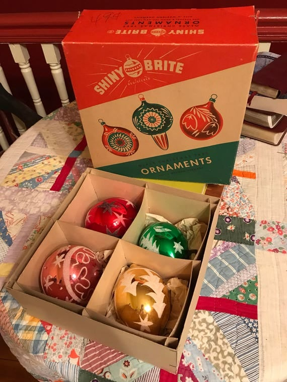 Box of 4 West Germany Christmas Tree Ornaments - Large size Shiny Brite