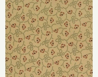 20 % off thru 7/4 moda fabric by 1/2 yard Kansas Troubles Quilters FAVORITES II-small red flowers on tan  9034-11