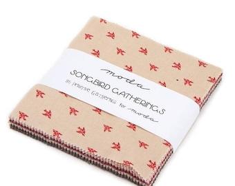 "12% off thru July charm pack  SONGBIRD GATHERINGS  moda  5"" Fabric squares Primitive  CARDINAL red tan cream 1160Pp"