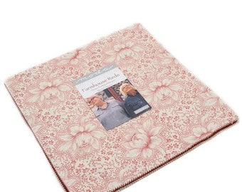 15% off thru Mar.19th FARMHOUSE REDS  Moda Layer Cake fabric 42 10 inch squares 14850LC-- Polly Minick Laurie Simpson red tan cream