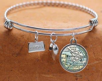 Manhattan KS Map Charm Bracelet State of Kansas Bangle Cuff Bracelet Vintage Map Jewelry Stainless Steel Bracelet Gifts For Her